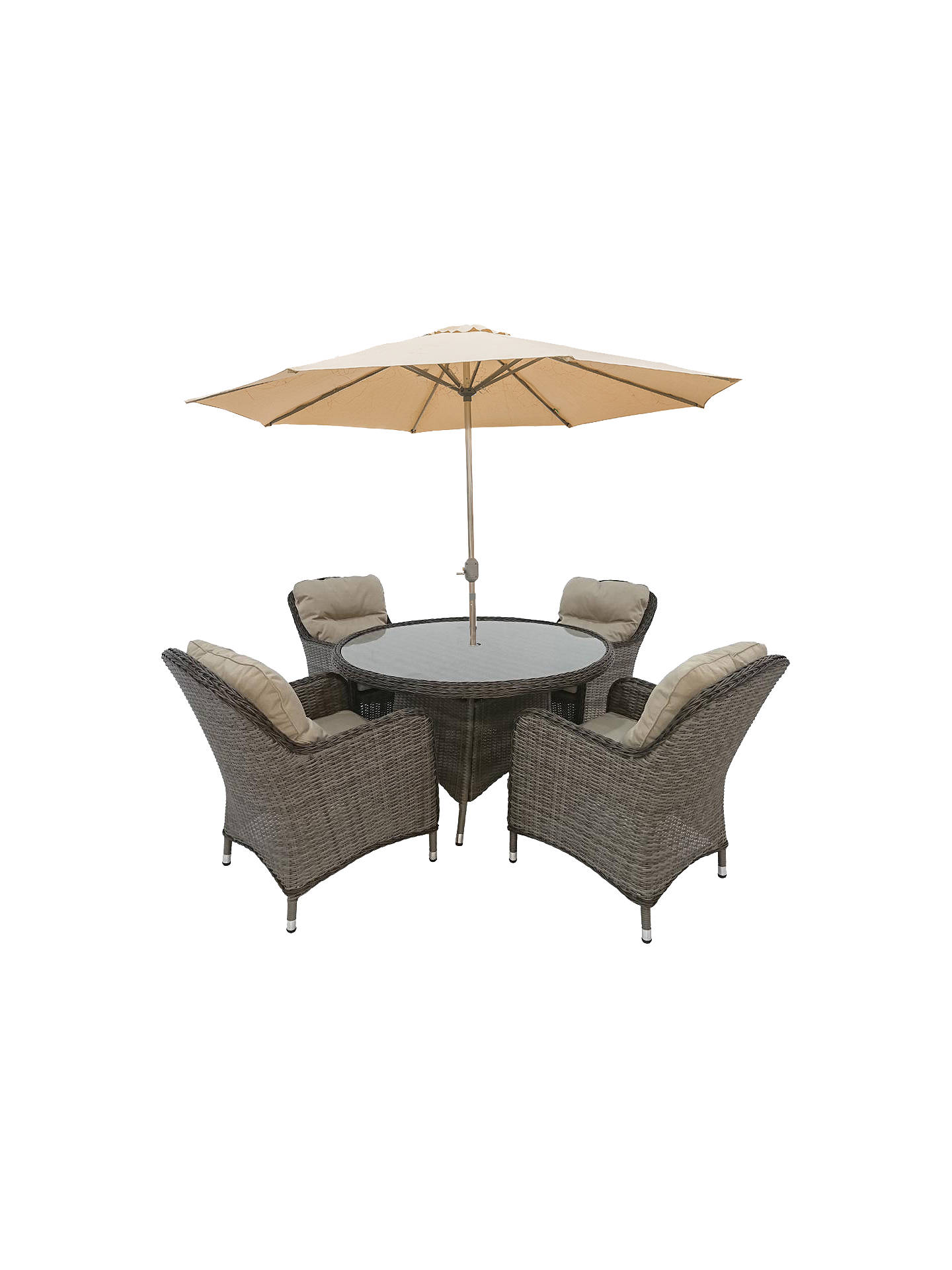 Buylg outdoor marseille 4 seater garden dining table and chairs set with parasol natural online