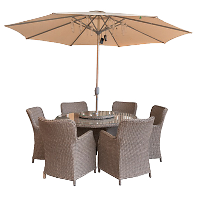 LG Outdoor Saigon 6 Seater Dining Table and Chairs Set with Parasol, Natural Grey