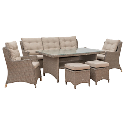 LG Outdoor Saigon 7 Seater Lounge Table and Chairs Set, Natural Grey