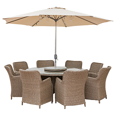 LG Outdoor Saigon 8 Seater Dining Table and Chairs Set with Parasol, Natural Grey
