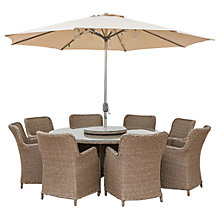 Buy LG Outdoor Saigon 8 Seater Dining Table and Chairs Set with Parasol, Natural Grey Online at johnlewis.com