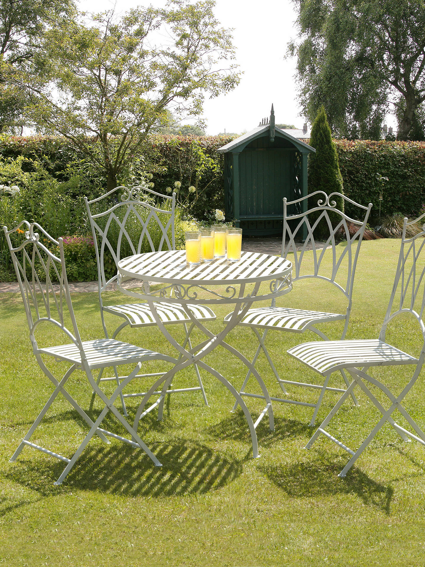 BuySuntime Gloucester 4 Seater Garden Dining Table and Chairs Set, White Online at johnlewis.com