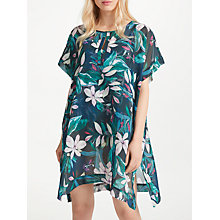 Buy John Lewis Jungle Leaf Border Print Kaftan, Teal/Multi Online at johnlewis.com