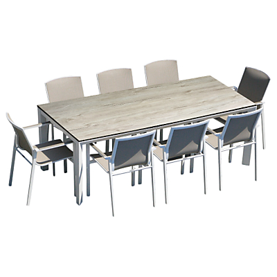 Westminster Madison Rectangular 8 Seater Garden Dining Set, White/Silverwood