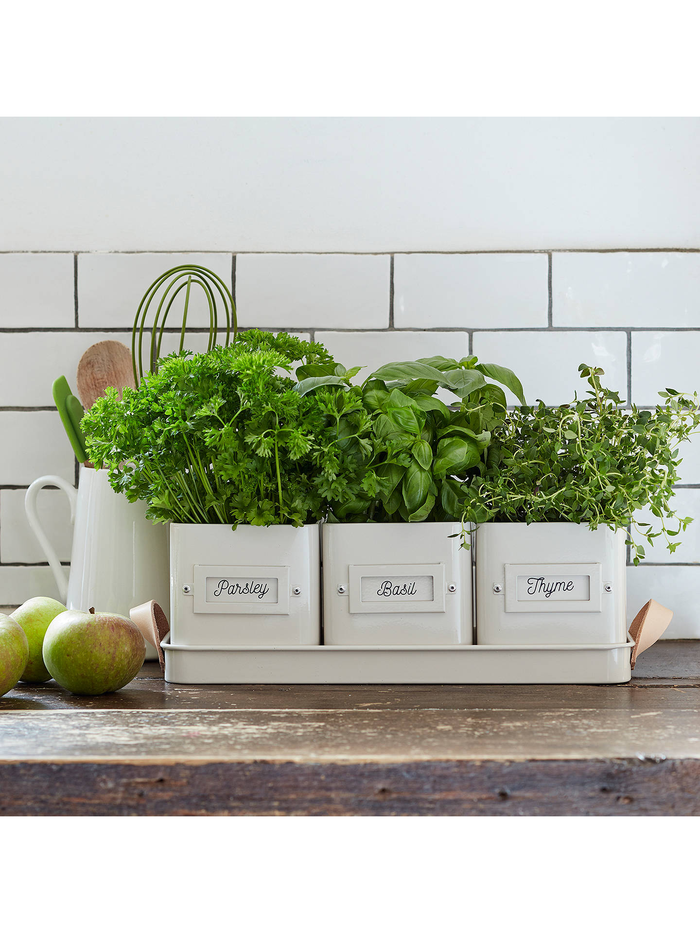Buy Burgon & Ball Square Enamel Herb Pots with Tray, Set of 3, Cream Online at johnlewis.com