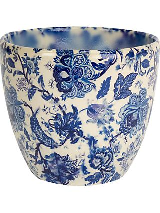 Ivyline Monza Vintage Floral Print Indoor Planter, Blue/White