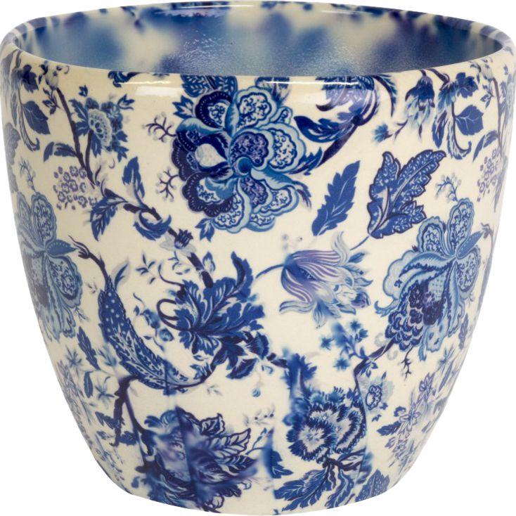 Ivyline Ivyline Monza Vintage Floral Print Indoor Planter, Blue/White