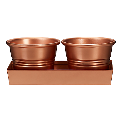 Garden Trading 2 Herb Pots On A Tray, Copper