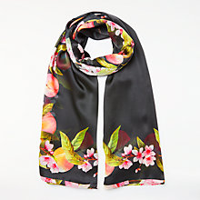 Buy Ted Baker Primula Peach Blossom Silk Scarf, Black/Multi Online at johnlewis.com