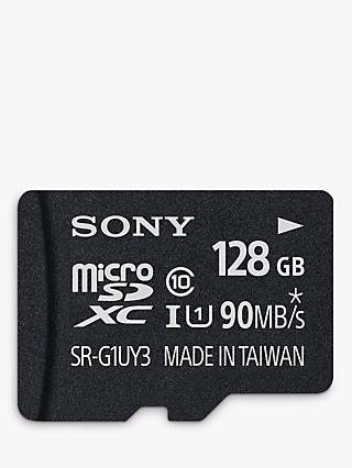 Sony Performance UHS-I Class 10 U1 MicroSD Memory Card, 128GB, 90MB/s, with SD Adapter