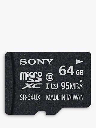 Sony Expert UHS-I Class 10 U3 MicroSD Memory Card, 64GB, 95MB/s, with SD Adapter
