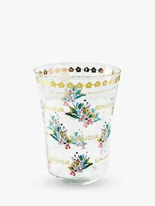 Anthropologie Piac Bonjour Floral Glass Tumbler, 310ml
