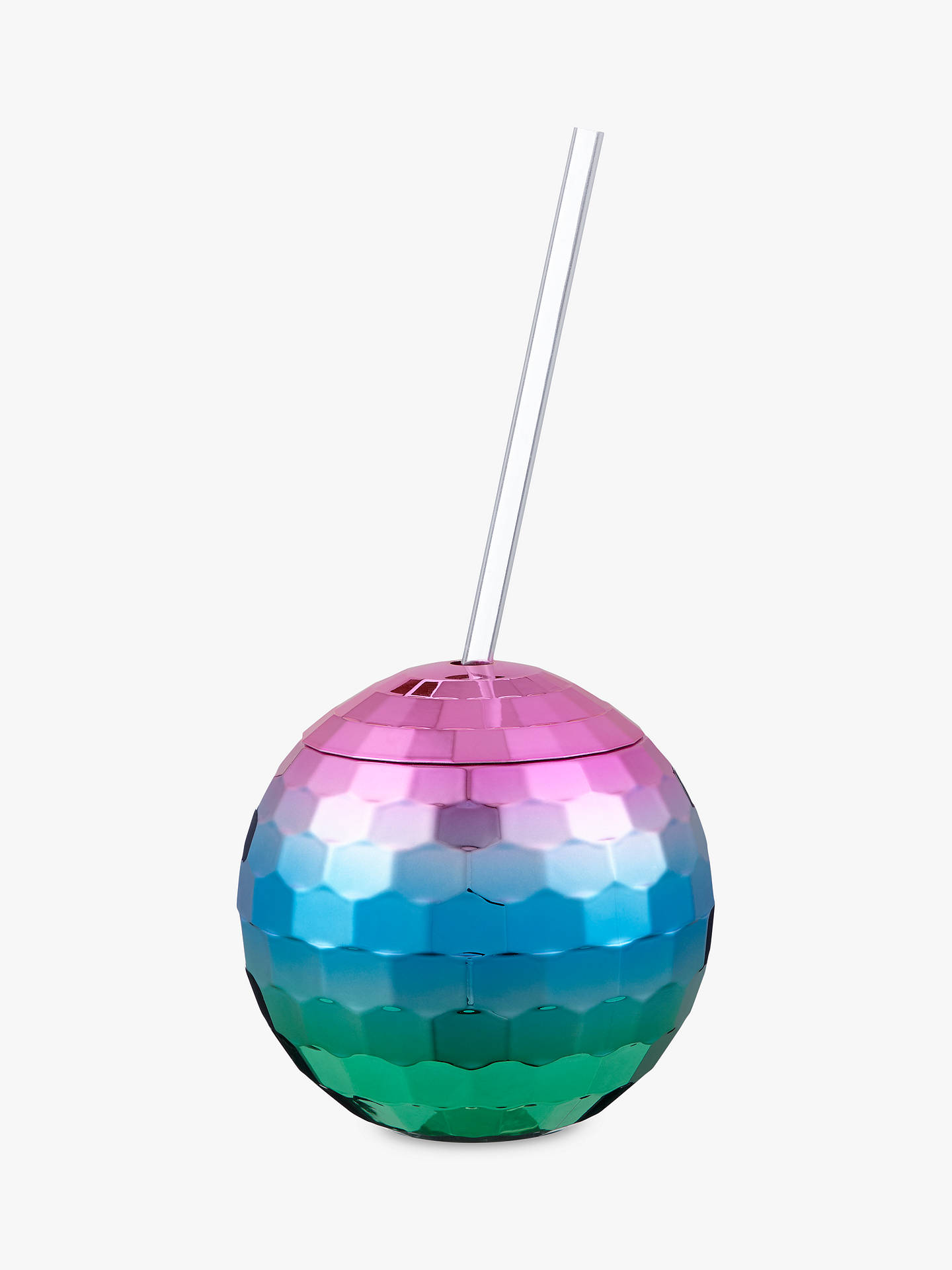 Buy John Lewis & Partners Disco Ball Lidded Drinks Holder with Reusable Straw, 560ml Online at johnlewis.com