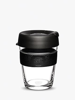 KeepCup Brew Reusable 12oz Glass Coffee Cup / Travel Mug, 340ml, Clear/Black