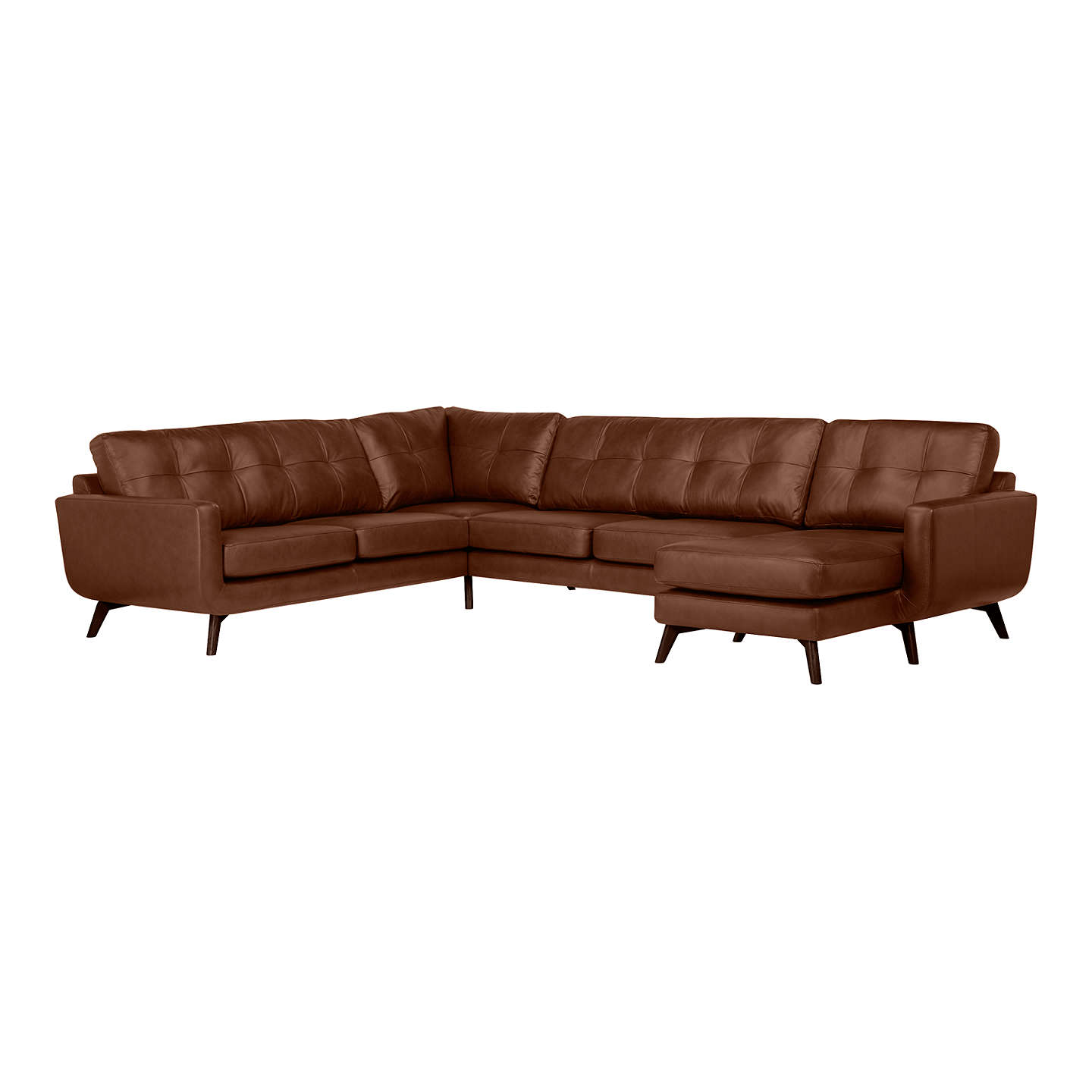 BuyJohn Lewis Barbican Leather RHF Grand Corner Chaise End Sofa, Dark Leg, Contempo Castanga Online at johnlewis.com