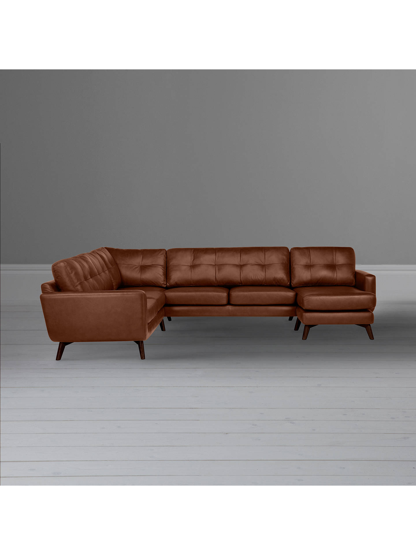 BuyJohn Lewis & Partners Barbican Leather RHF Grand Corner Chaise End Sofa, Dark Leg, Contempo Castanga Online at johnlewis.com