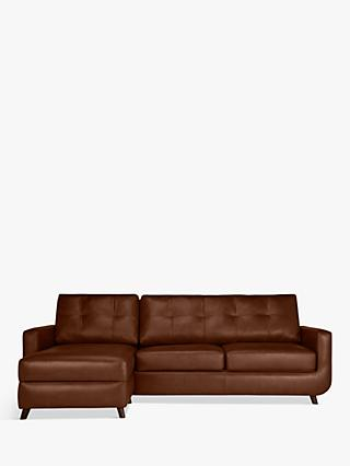 John Lewis & Partners Barbican Leather LHF Chaise End Sofa, Dark Leg