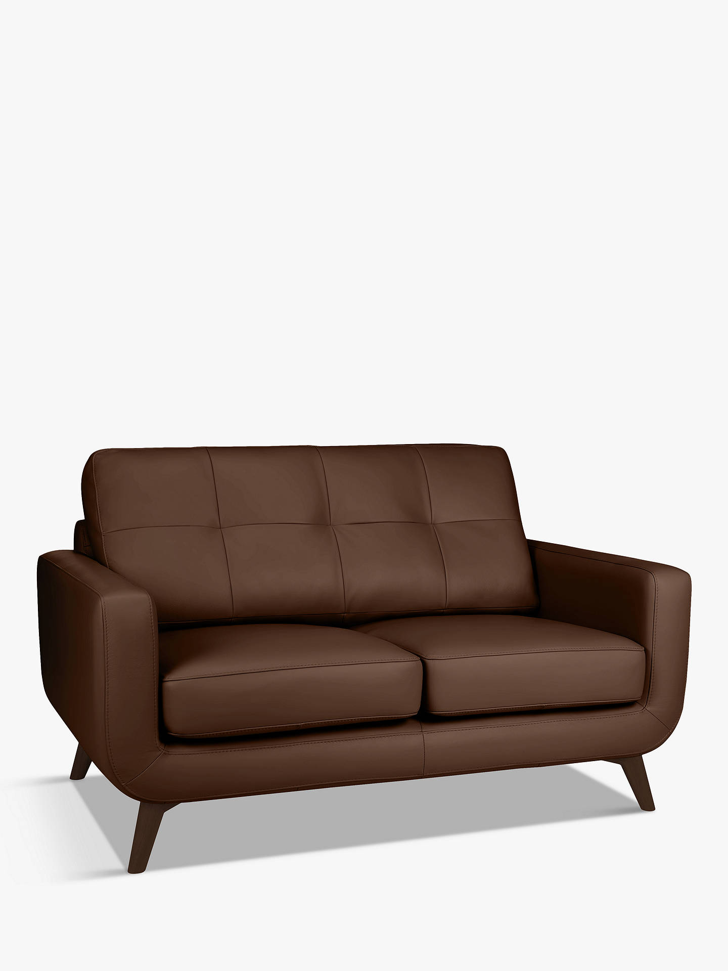Buy John Lewis & Partners Barbican Small 2 Seater Leather Sofa, Dark Leg, Contempo Castanga Online at johnlewis.com