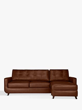 John Lewis & Partners Barbican Leather RHF Chaise End Sofa, Dark Leg