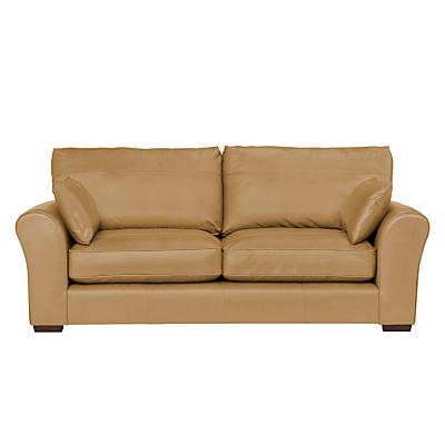 John Lewis Leon Large 3 Seater Leather Sofa, Dark Leg