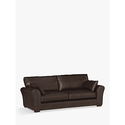 John Lewis Leon Grand 4 Seater Leather Sofa, Dark Leg