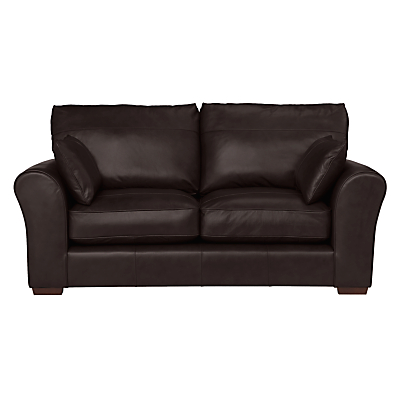 John Lewis Leon Medium 2 Seater Leather Sofa, Dark Leg