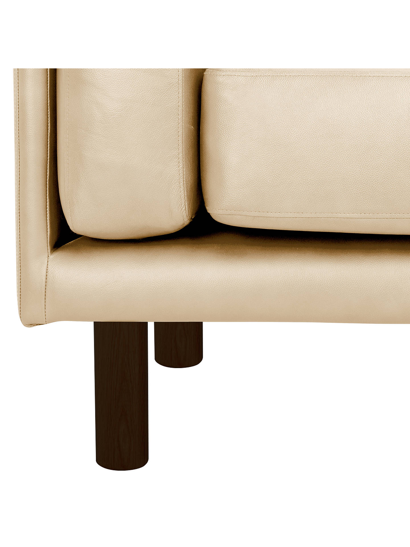 Buy Design Project by John Lewis No.002 Large 3 Seater Leather Sofa, Dark Leg, Contempo Ivory Online at johnlewis.com
