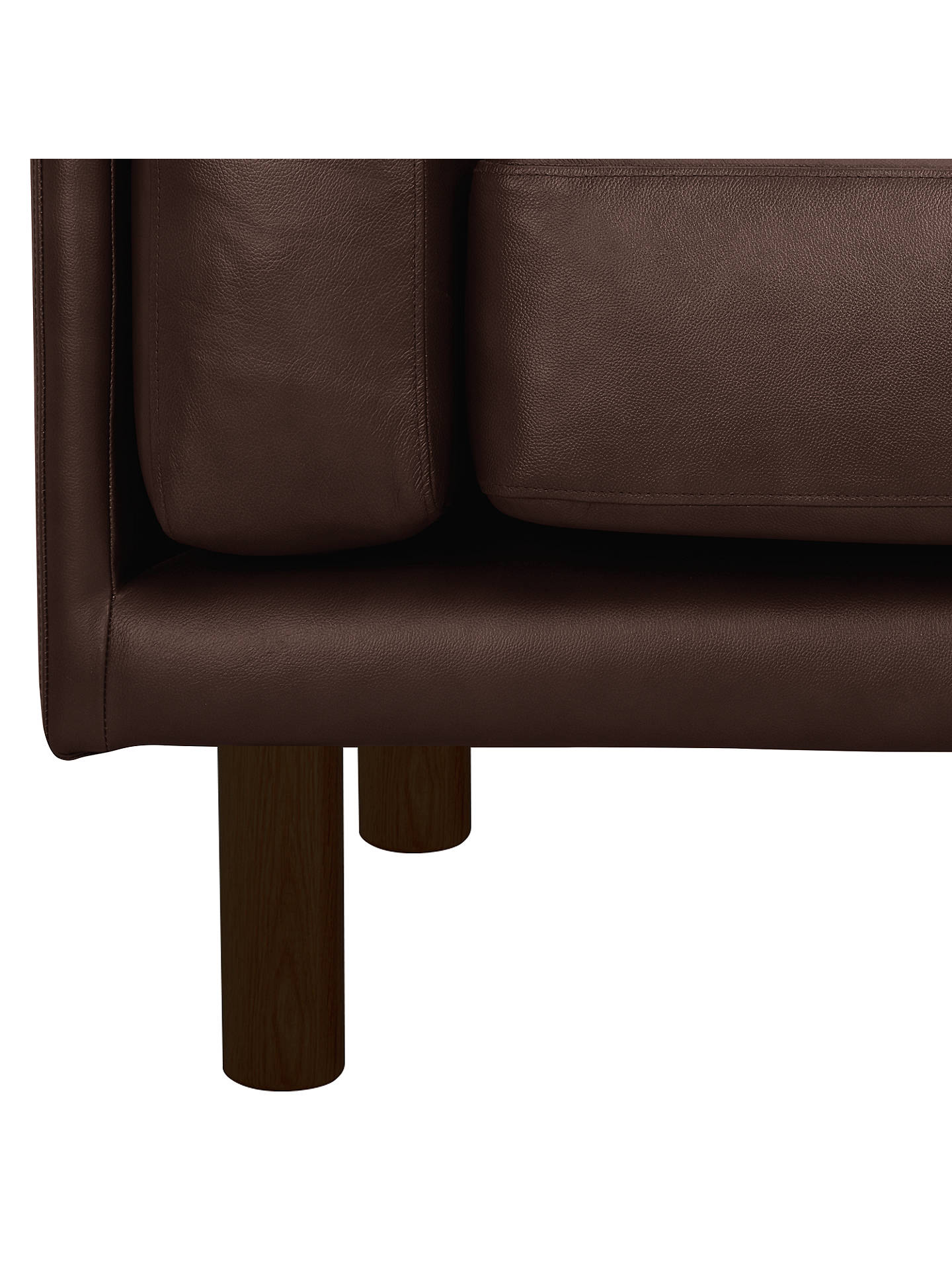 Buy Design Project by John Lewis No.002 Large 3 Seater Leather Sofa, Dark Leg, Nature Brown Online at johnlewis.com