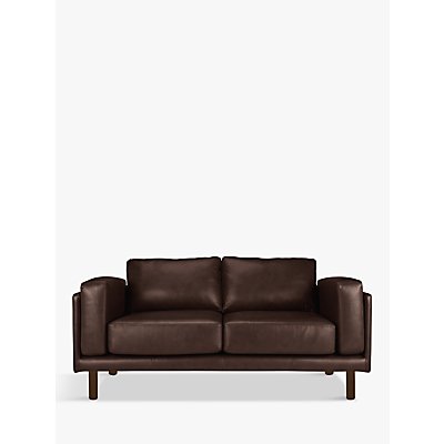 Design Project by John Lewis No.002 Medium 2 Seater Leather Sofa, Dark Leg
