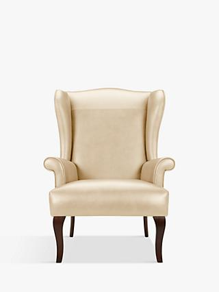 John Lewis & Partners Shaftesbury Leather Wing Chair, Dark Leg
