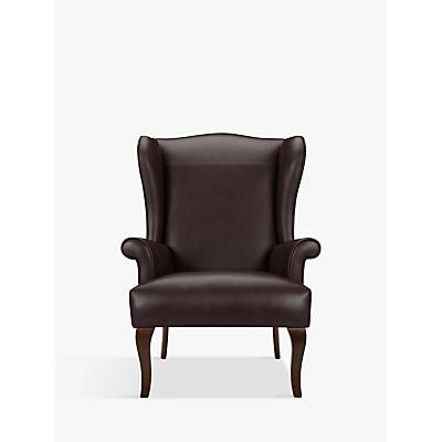 John Lewis Shaftesbury Leather Wing Chair, Dark Leg