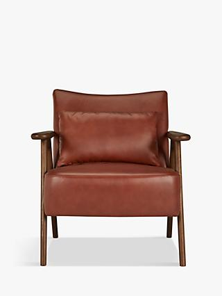 John Lewis & Partners Hendricks Leather Armchair, Dark Wood Frame