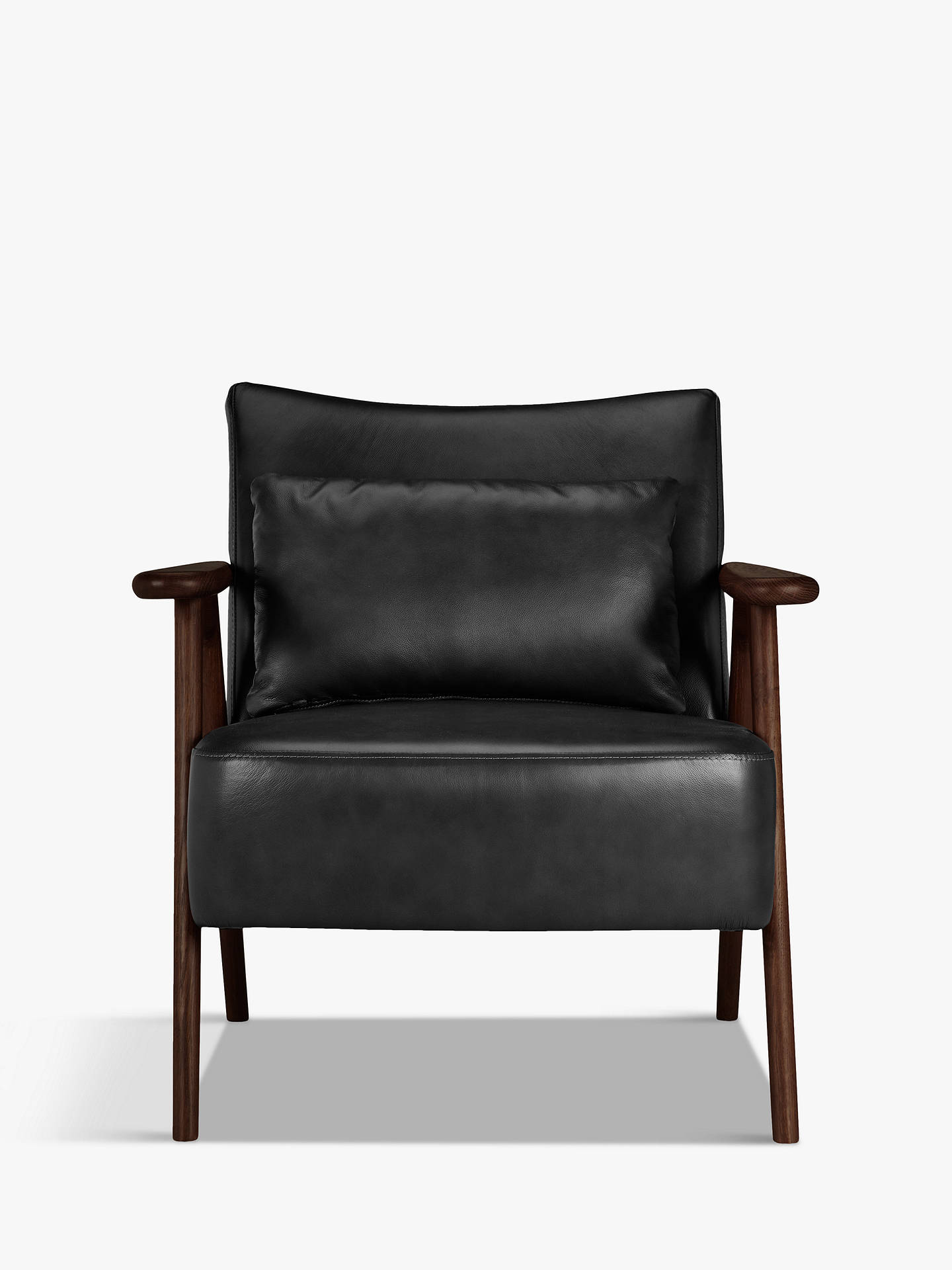 Buy John Lewis & Partners Hendricks Leather Armchair, Dark Wood Frame, Nature Black Online at johnlewis.com