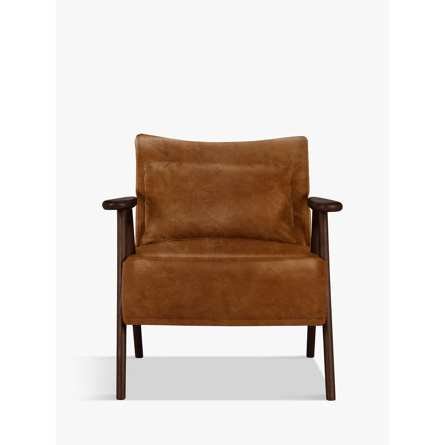 BuyJohn Lewis Hendricks Leather Armchair, Dark Wood Frame, Old Saddle Nut  Online At Johnlewis ...