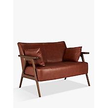 Buy John Lewis Hendricks Leather Loveseat, Dark Leg Online at johnlewis.com