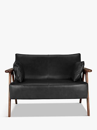 John Lewis & Partners Hendricks Leather Loveseat, Dark Wood Frame