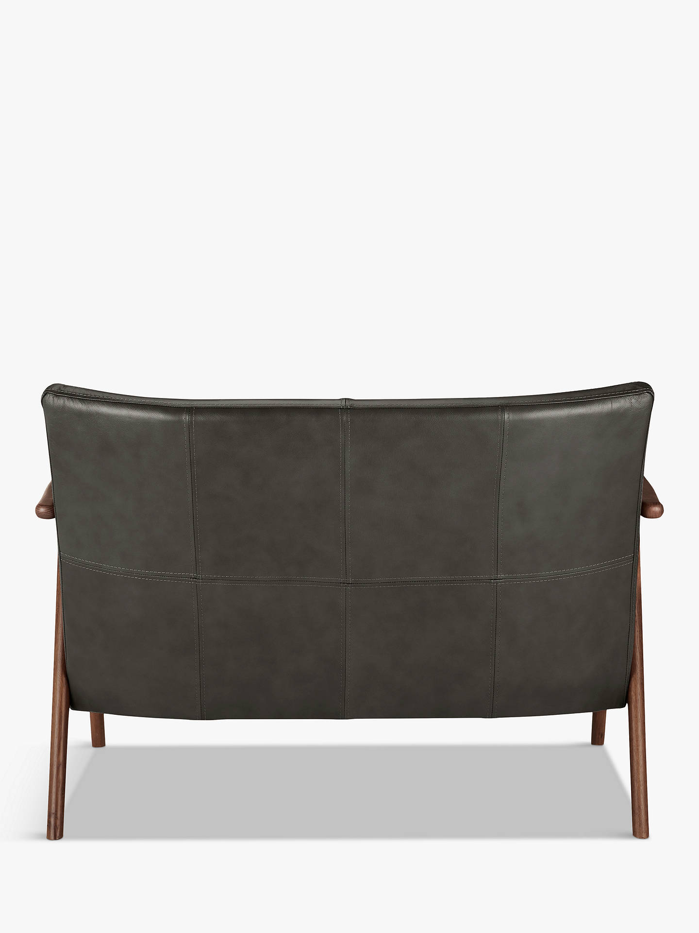 Buy John Lewis & Partners Hendricks Leather Loveseat, Dark Wood Frame, Winchester Anthracite Online at johnlewis.com