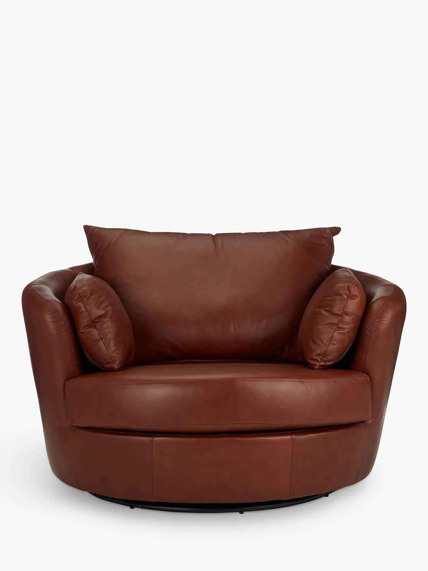 John Lewis Partners Antonio Leather Swivel Chair Contempo Castanga