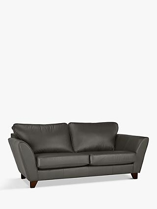 John Lewis & Partners Oslo Leather Large 3 Seater Sofa, Dark Leg