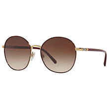 Buy Burberry BE3094 Round Sunglasses, Dark Brown/Brown Gradient Online at johnlewis.com