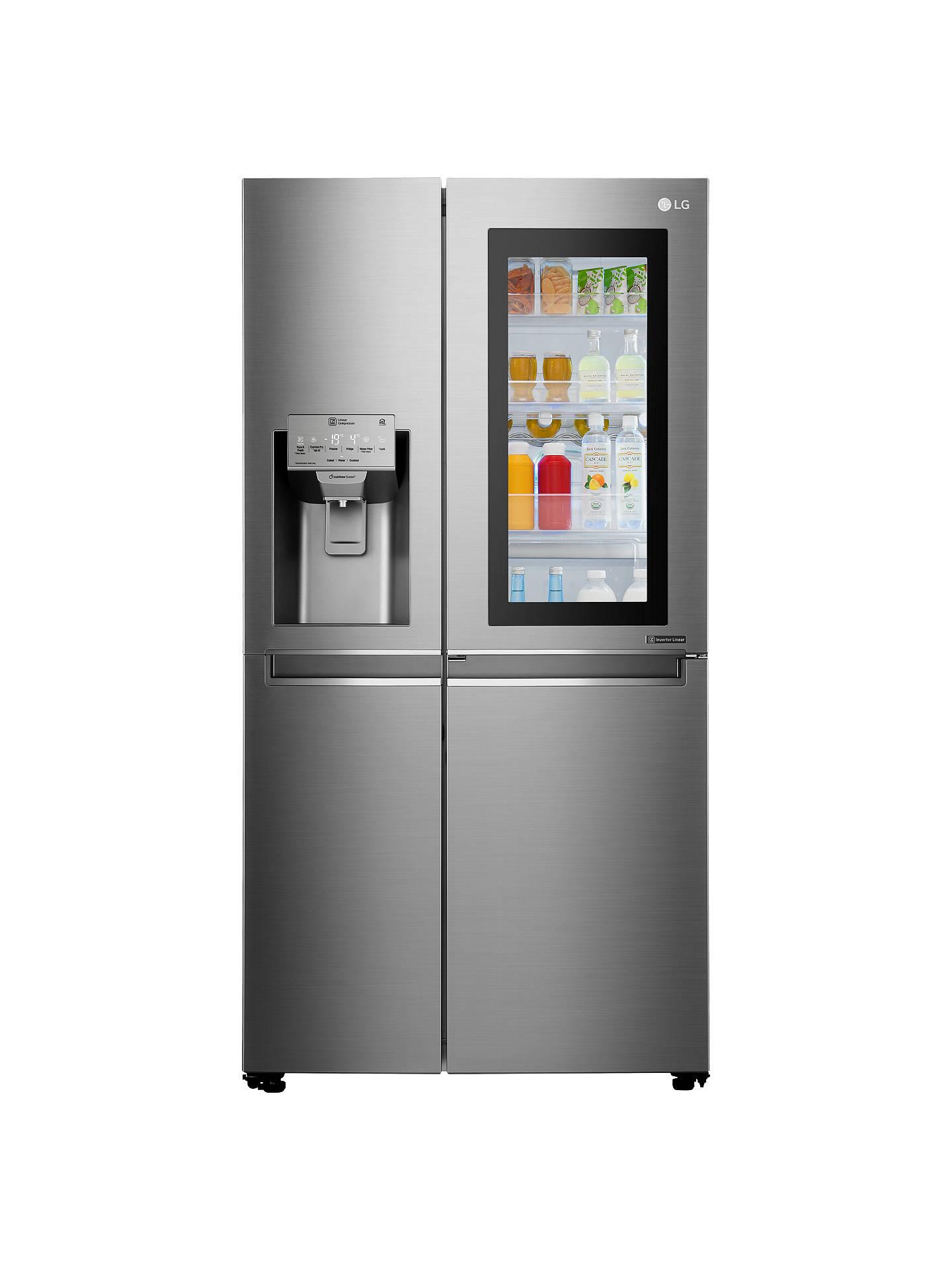 LG InstaView GSX960NSAZ American Style Plumbed Fridge Freezer, A++ Energy  Rating, 90cm Wide, Noble Steel
