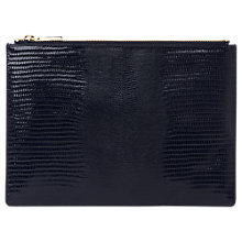 Buy Whistles Lizard Medium Leather Clutch Bag, Navy Online at johnlewis.com