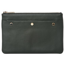 Buy Whistles Triple Stud Leather Clutch Pouch, Khaki Online at johnlewis.com
