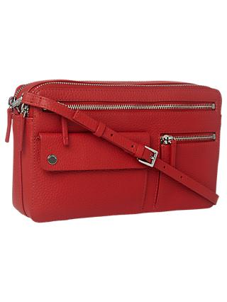 Whistles Albion Leather Zip Pocket Bag Red