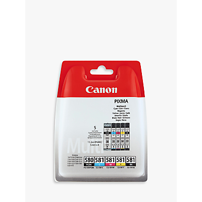 Image of Canon PGI-580PGBK/CLI-581 Inkjet Printer Cartridge Multipack, Pack of 5