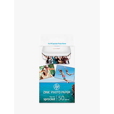 Product photo of Hp zink stickybacked photo paper 50 sheets 2 x 3 each for hp sprocket photo printer