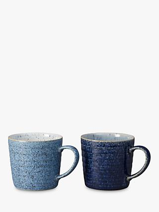 Denby Studio Blue Ridged Mugs, 400ml, Set of 2
