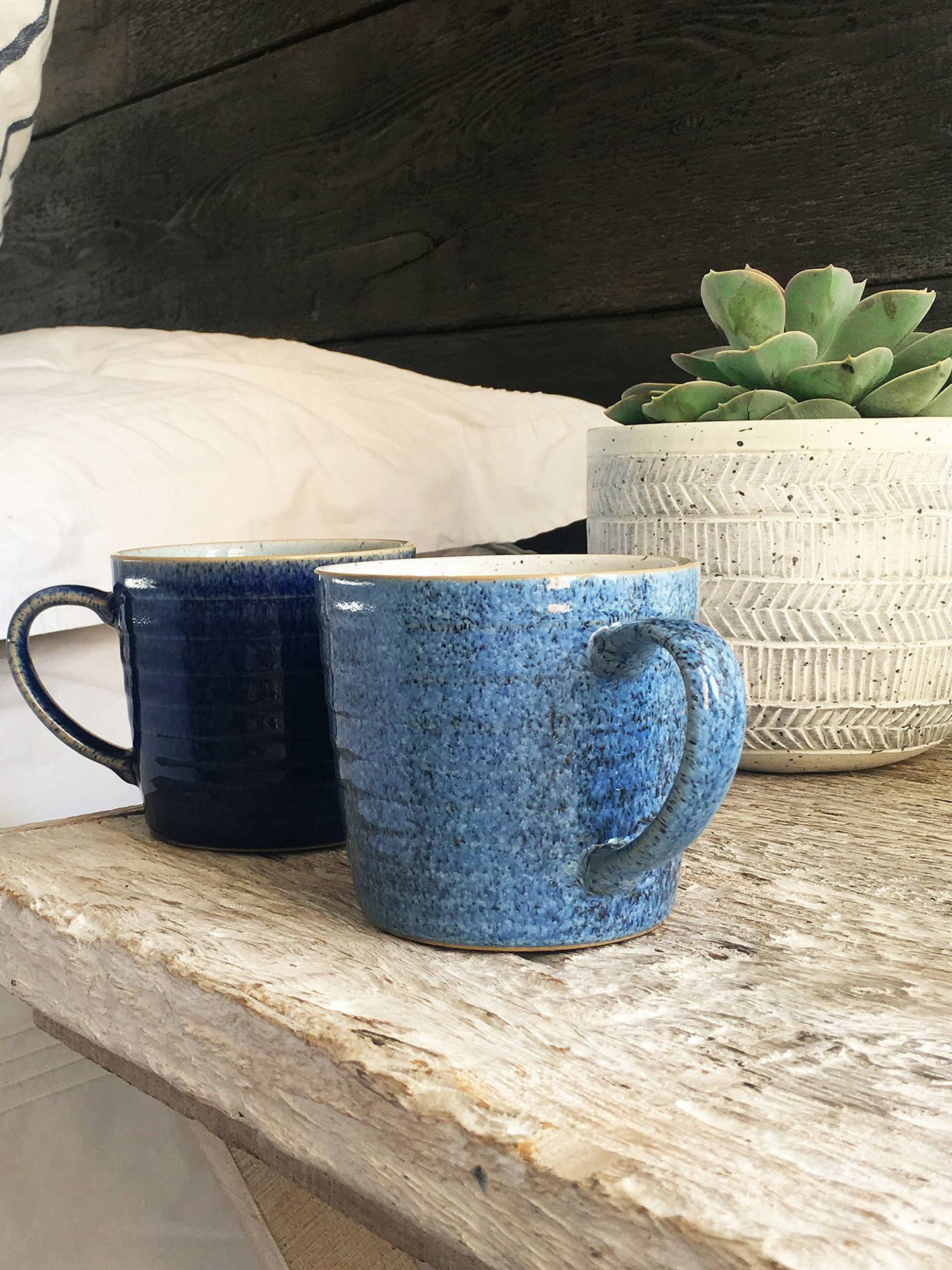 BuyDenby Studio Blue Ridged Mugs, 400ml, Set of 2 Online at johnlewis.com