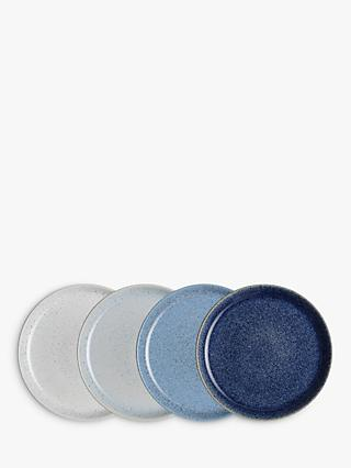 Denby Studio Blue Dinner Coupe Plates, Chalk/Blue, Dia.26cm, Set of 4