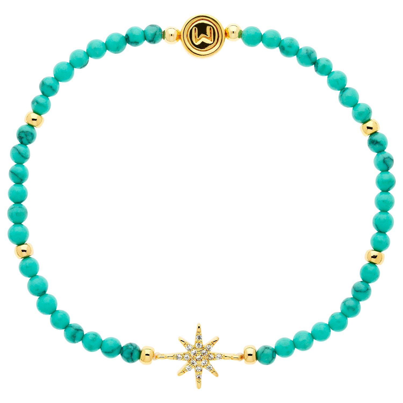Melissa Odabash Melissa Odabash Turquoise and Crystal Star Stretch Bracelet, Blue/Gold